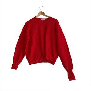 Vintage Woolrich Sweater Women's Size Large 100% Wool Red Crewneck Sweatshirt